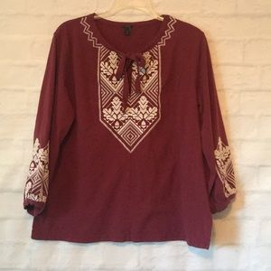 J crew embroidered 3/4 sleeve top blouse sz M